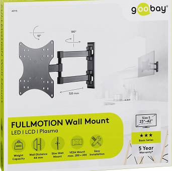 "Uchwyt TV Goobay BASIC FULLMOTION S 23""-42"" do 20kg"